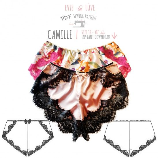 The Camille French knickers are a beautiful shape. They sit low on the hips and have an overlapping design at the sides.