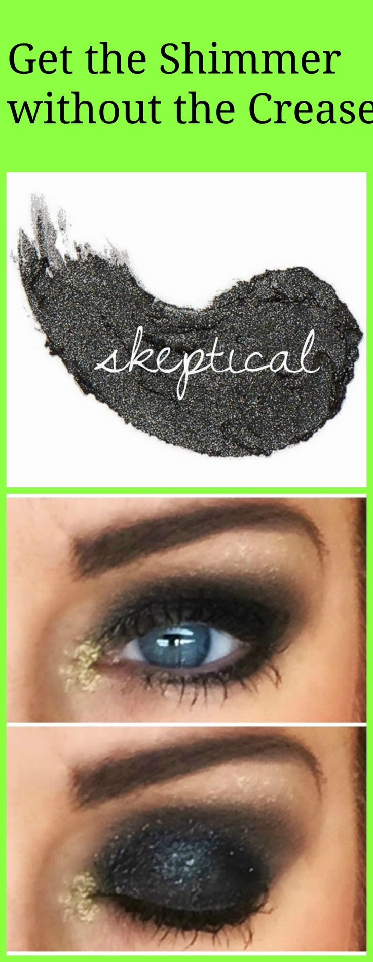 Great new color Cream Shadow for Smokey eye, Goes on as a cream dries as a powder.  No Creasing.  Check out all colors available.