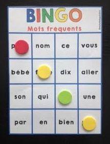 Bingo des mots fréquents