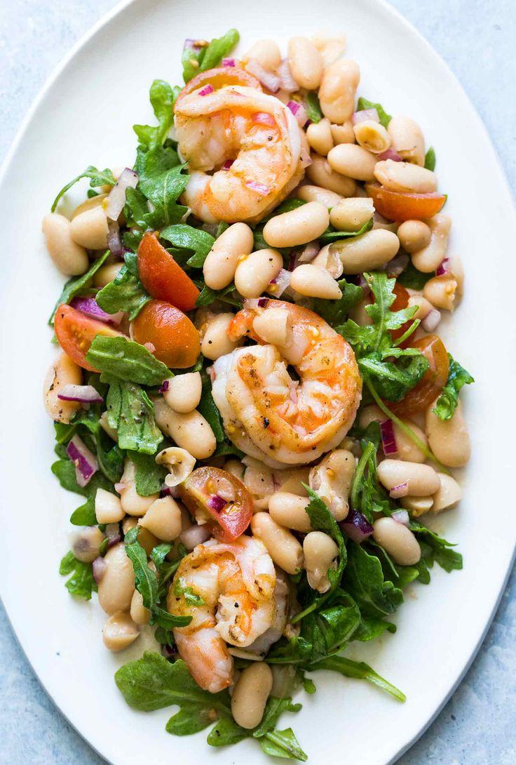 Shrimp, Arugula, White Bean, Cherry Tomato Salad - http://www.popularaz.com/shrimp-arugula-white-bean-cherry-tomato-salad/