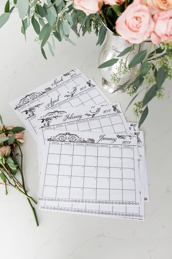Free 2018 Monthly Calendar Printable in French Vintage Design/silver vase with roses, eucalyptus - So Much Better With Age