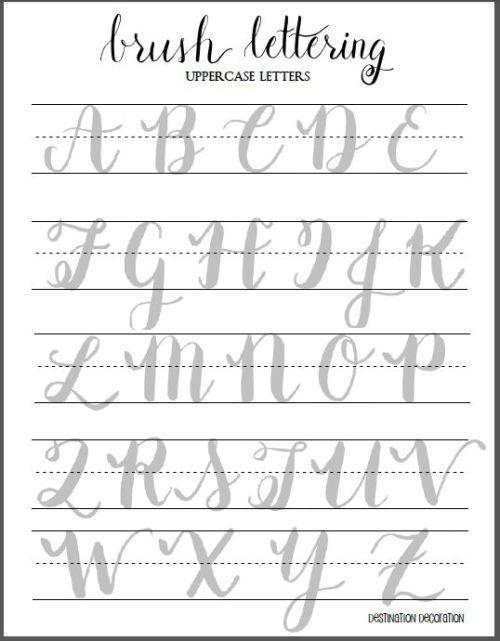 Escova Lettering letras maiúsculas folha de cálculo, decoração destino