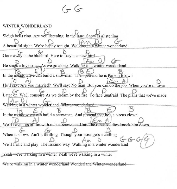 Winter wonderland christmas g major guitar chord chart with lyrics