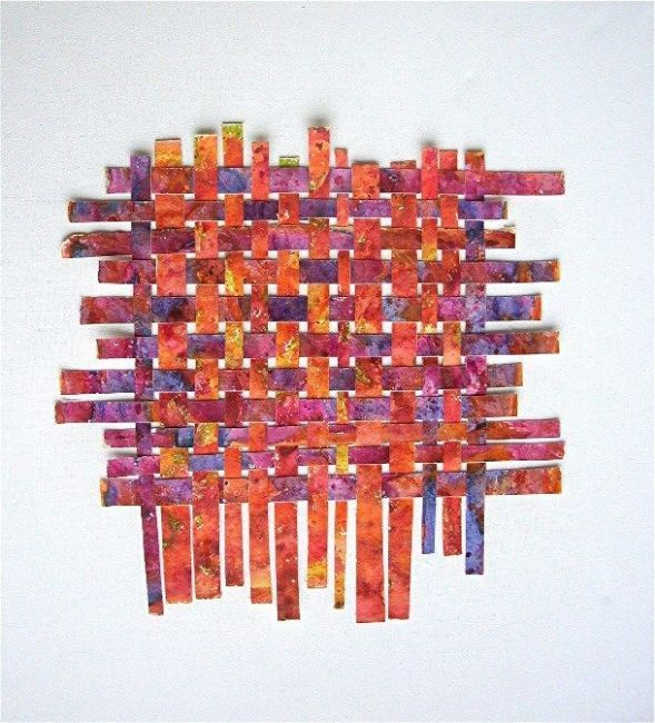 Watercolor Weaving Collage-- I did one of these in High School but mine wasn't as professional looking!