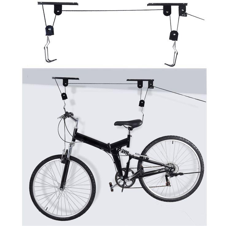 Heißer Verkauf Fahrrad Lift Decke Montiert Hoist Lagerung Garage Aufhänger Riemenscheibe Rack Metall Schwarz Lift Baugruppen