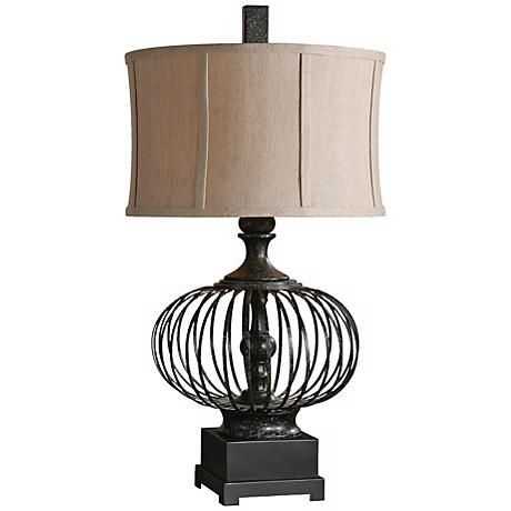 Uttermost lipioni black metal cage table lamp