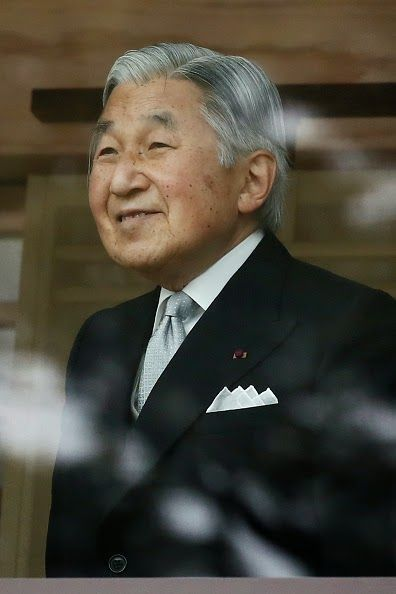 Emperor Akihito attends the celebration for the New Year on the veranda of the Imperial Palace on 02.01.2015 in Tokyo, Japan.