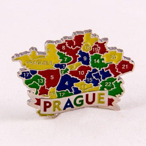 Metal Fridge Magnet: Czech Republic. Map of Prague (Nickel Plating and Enamel)