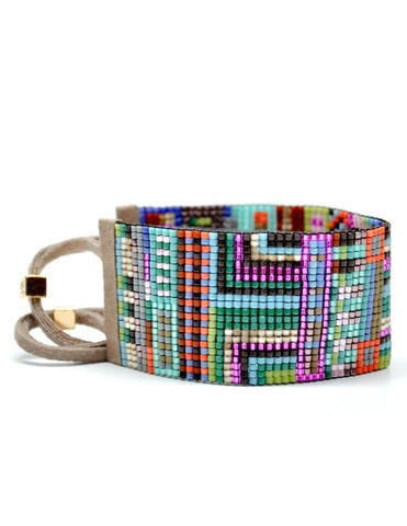 Not something you see everyday. Wide Beaded Bracelet in Rio