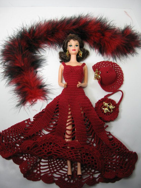 New Barbie doll plus a crocheted red floor by ToneyTreasures