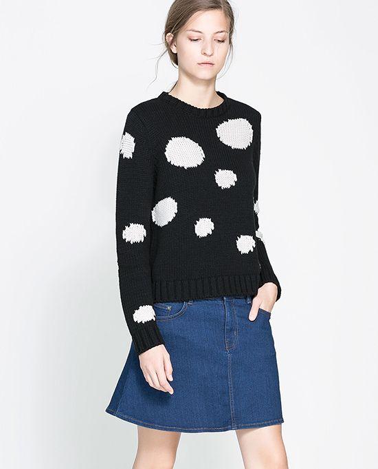 zara polka dot sweater