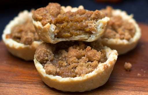 Pumpkin Streusel Tarts With Plain Flour, Butter, Salt, Sugar, Ice Water, Butter, Light Brown Sugar, Granulated Sugar, Ground Cinnamon, Ground Nutmeg, Ground Cloves, Pumpkin Purée, Condensed Milk, Eggs, Flour, Brown Sugar, Granulated Sugar, Ground Cinnamon, Salt, Butter, Plain Flour