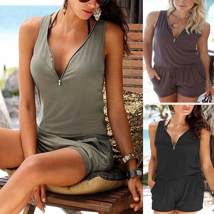 Women Jumpsuit Ladies Romper Summer Clothes Beach Party Dress Shorts Outfit