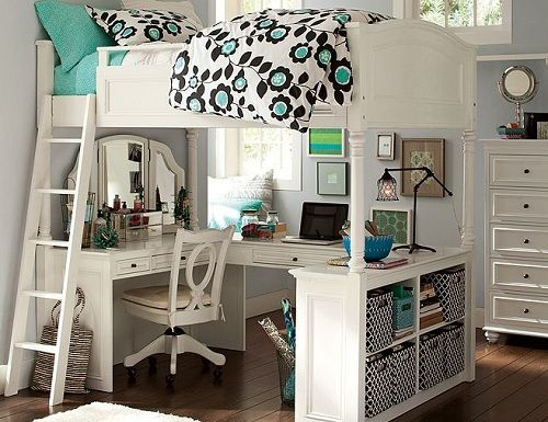 Floral Bedroom Design For Teen Girls in Solid Color Sleep and Study