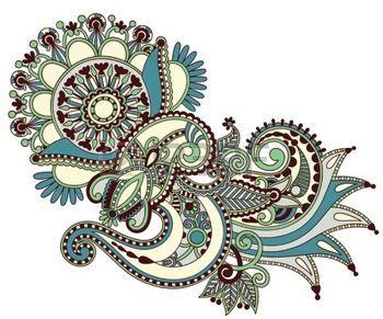 originale mano disegnare line art ornato, fiore, disegno. Ucraino stile tradizionale photo