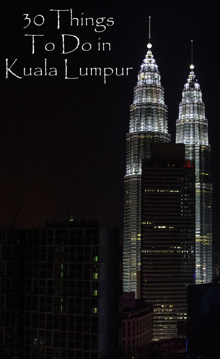 Kuala Lumpur is a fascinating city with plenty to do. These 30 activities are just some of what the city has to offer tourists and locals. Whether you're there for a weekend or there for a while, you'll never run out of things to do.