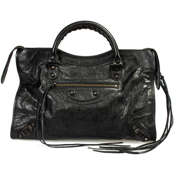 Classic City Lambskin Bag ($1,099) ❤ liked on Polyvore featuring bags, handbags, balenciaga classic city, black, collections, zip top tote, city tote bag, zip top tote bags, zip tote bag and balenciaga purse
