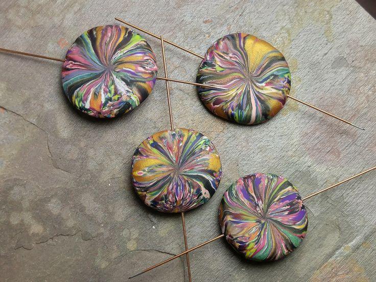 ABS - APRIL 2017 Jungle Blooms polymer clay lentils by Erin Prais-Hintz of Tesori Trovati