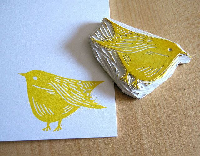 bird hand carved stamp #undefined Love this one!