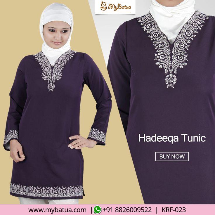 Hadeeqa Tunic - An enticing dark purple casual wear with attractive hand embroidery for daily or formal occassions.  #hadeeqatunic #purple #designertunic #dailywear #alineatunic #shorttunic #contemporary #casualtunic #formaltunic #tunic #embroidertunic #fashion #muslimwear #style #clothing #picofday #summercollection #mybinsta #sisterhood #modestfashion #womenclothing #ootd #yaz #islamicclothing #womendress #dress #muslimwear #instafashion #hijabfashion #modesty