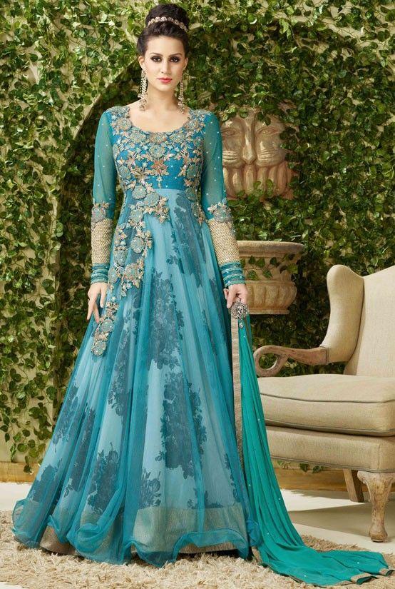 Enigmatic Teal Blue Designer #Anarkali #Suit More