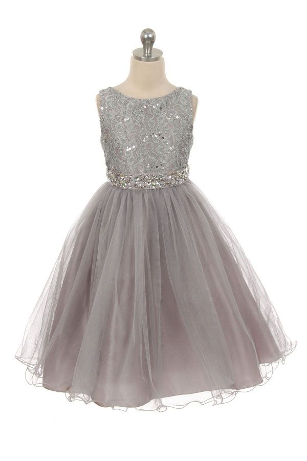 MB_340SV - Girls Dress Style 340 - Sparkly Tulle Dress with Beaded Waist in Choice of Color - Silver Grays - Flower Girl Dresses - Flower Girl Dress For Less