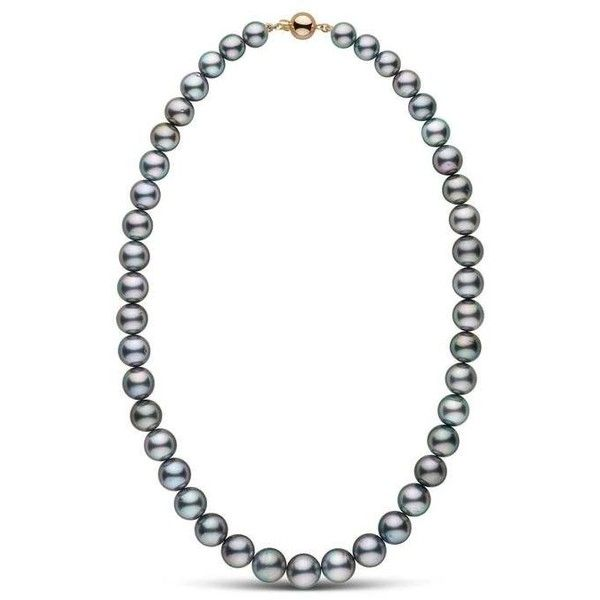 8.0-10.6 mm AA+ Tahitian Pearl Necklace ($2,880) ❤ liked on Polyvore featuring jewelry, necklaces, round necklace, tahitian pearl jewelry, knot necklaces, tahitian pearl necklace and strand necklace