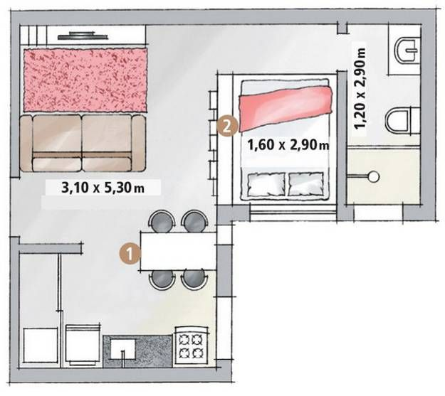 'Small apartment ideas for single guys'.  Nice simple layout for small space.