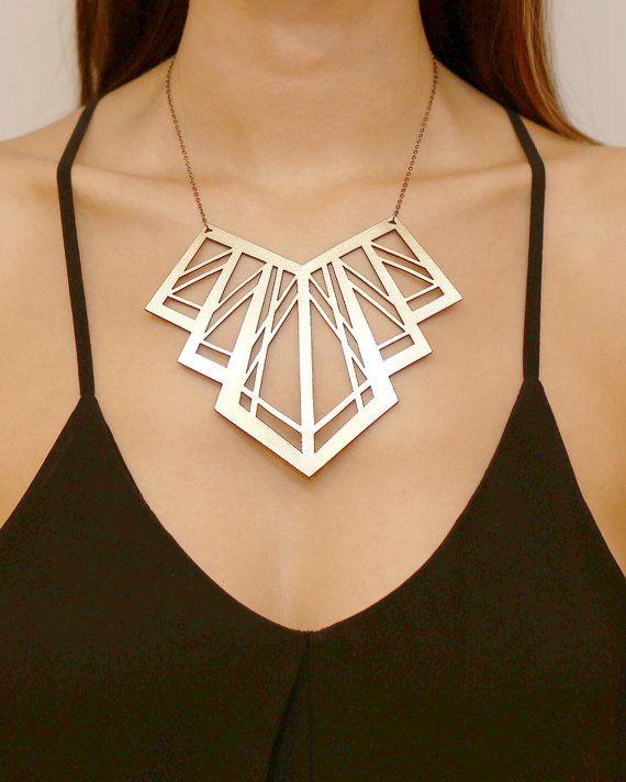 Lasercut Art Deco Statement Leather Necklace