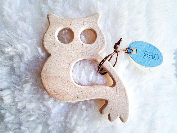 Organic Teething Ring - Cute Owl Teething Toy - Handmade Wood Teething Ring