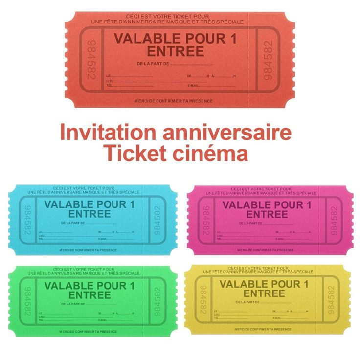 Invitation anniversaire ticket de cinéma                                                                                                                                                                                 Plus