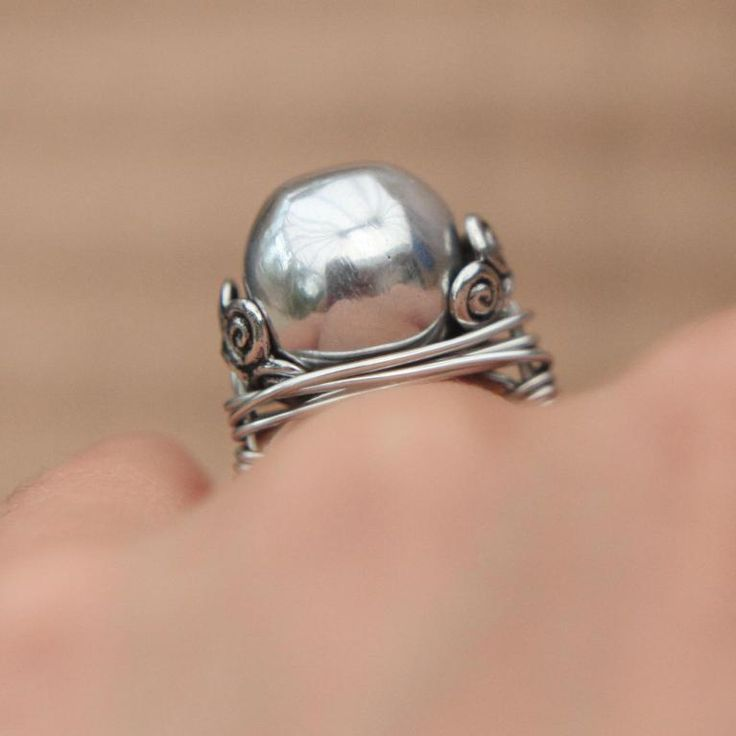 Wrapped Wire Pearl Ring
