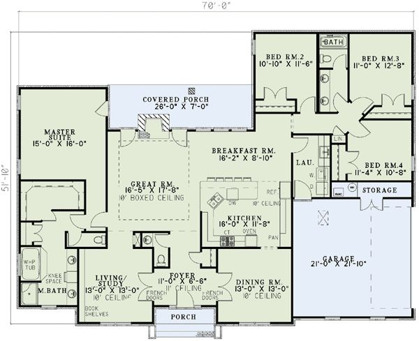 4-Bedroom Ranch House Plans | Plan W59068ND: Neo-Traditional 4 ...