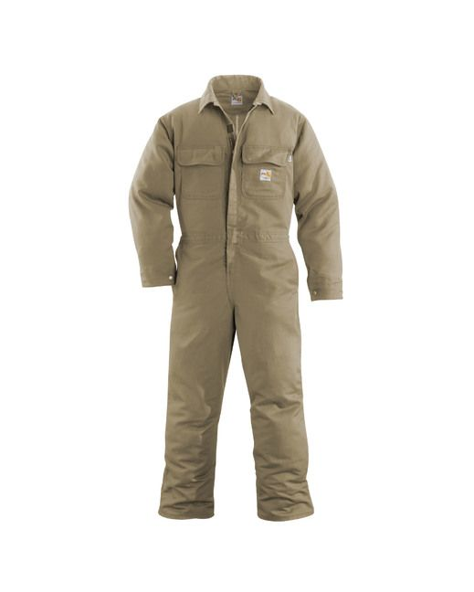 <p>The Carhartt Flame-Resistant Work Coverall packs a lot of protection, comfort and utility in one hardworking garment. It includes a brass front zipper with Nomex FR zipper tape and inside and outside protective flaps. Ample storage is provided by two chest pockets with flaps and a left-leg utility band as well as multiple tool and utility pockets. All-day comfort is enhanced by a pleated bi-swing back. Two pass through pocket openings allow you to access an inner garment. Triple stitched…