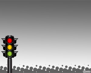 Free Traffic Light System PowerPoint Template with gray background and color traffic lights