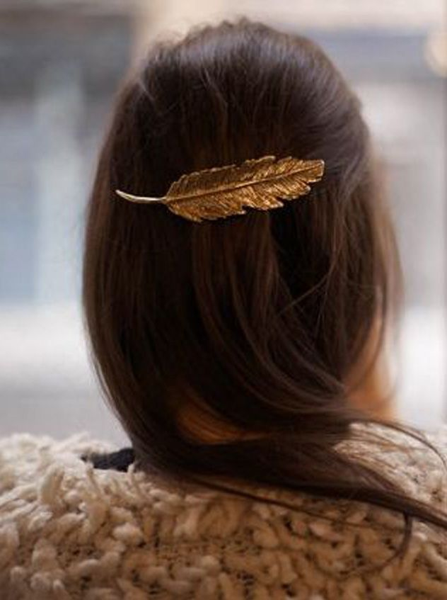 Gold feather hair clip
