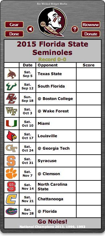 BACK OF WIDGET - Free 2015 FSU Seminoles Football Schedule Widget - Go Noles! - National Champions 2013, 1999, 1993  http://riowww.com/teamPages/Florida_State_Seminoles.htm