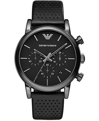 Emporio Armani Men's Quartz Watch with Black Dial and Black Leather Strap AR1737