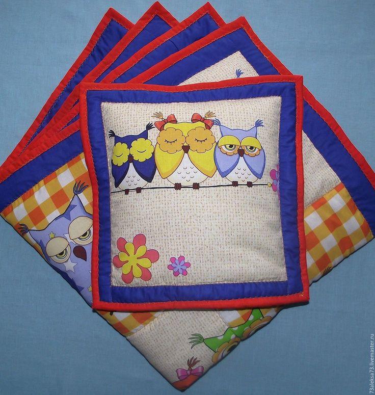 """Купить Одеяло с подушкой """"Синие совушки-2"""" - темно-синий, оранжевый, рыжий, совушки"""
