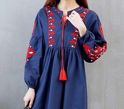 Excited to share the latest addition to my #etsy shop: Women tunic dress, embroidered tunic dress, boho hippie dress, Mexican tunic dress,  black, blue, white, S, M, L, XL, long sleeve tunic