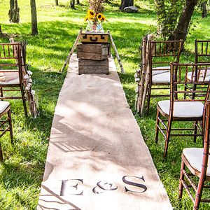 Personalized Burlap Aisle Runner with Equestrian Monogram - Aisle Runners | Wedding Aisle Runners - Wedding Essentials - Wedding Favors & Party Supplies - Favors and Flowers