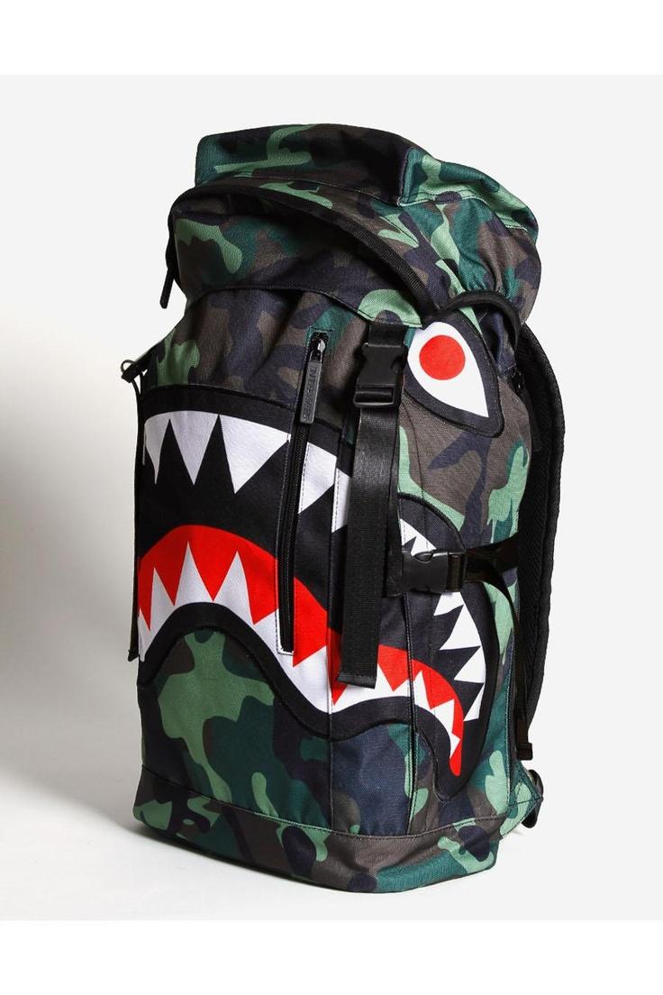CAMO SHARK backpack // only shark whisperers need apply