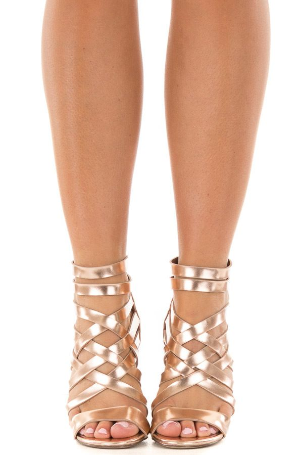 d3924281f Lime Lush Boutique - Rose Gold Metallic Leatherette Open Toe Strappy Block  Heel
