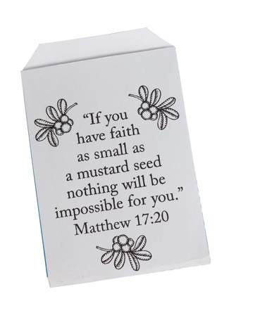 "Seeds of Faith (215-385) from Guildcraft Arts  Crafts!    Plant God's love in your hearts and it will grow and grow, just like these mustard seeds! Matthew 17:20. Includes preprinted ready-to-fold and color cardstock seed packets, glue and mustard seeds. 3 3/4"" x 4"". Package of 24."