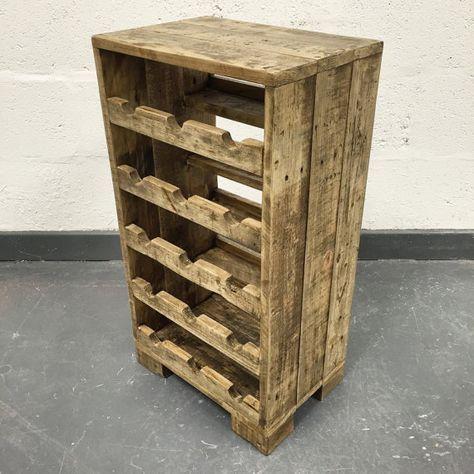 Bois de palettes récupéré vin Rack - Rack vin bois de palette - casier à vin rustique ...