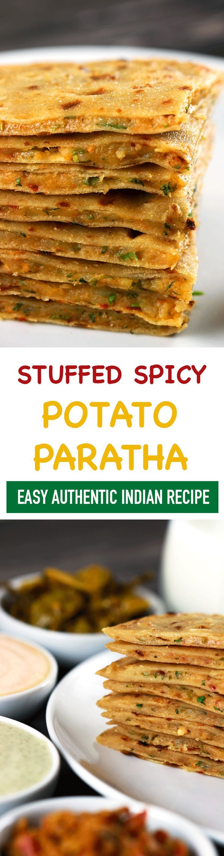 These Indian Stuffed Potato Parathas are perfect when you want to have delicious classic Indian food, but don't want to make anything too complicated! Each bite is bursting of delicious flavors that you won't be able to forget! | http://ScrambledChefs.com