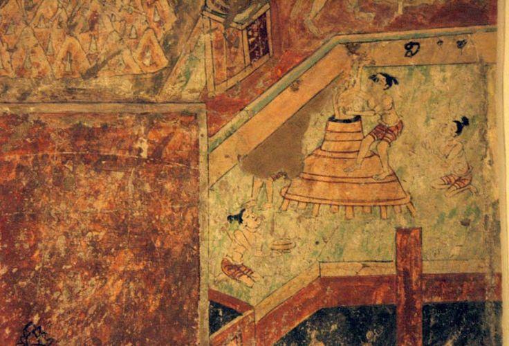 Hell scenes - Bezeklik, Cave 8. 14C date: 1042-1162. Wall painting. 147 x 95 cm. MIK III 8453