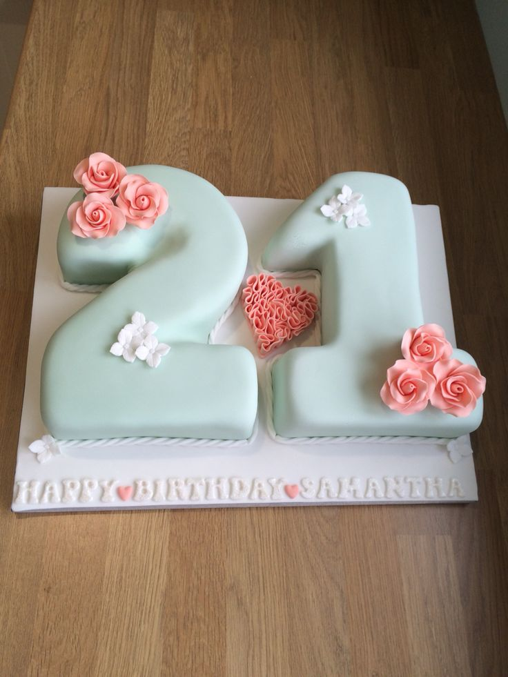 Vintage Shabby Chic 21st Birthday Cake In Soft Mint Green