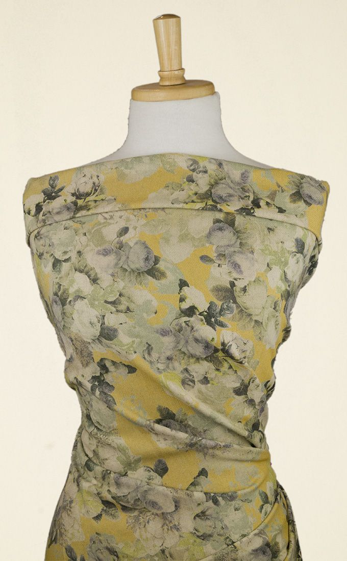 A stunning, heavier-weight softest yellow and pale purple-grey floral linen mix fabric. Perfect for cross-season dresses, tops and even spring trousers.