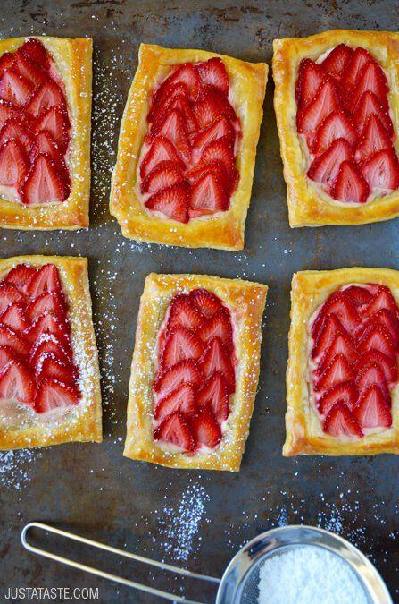 5-Ingredient Strawberry Breakfast Pastries #recipe from @justataste